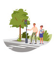 disabled blind man on street crosswalk vector image