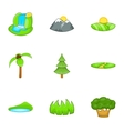 Flora icons set cartoon style vector image vector image