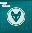fox icon on a green background with arrows in vector image