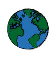 global world earth map round vector image vector image