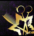 gold star and scissors for a beauty salon vector image vector image