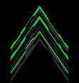 green grey arrow futuristic direction on black vector image vector image