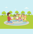 group kids sitting on plaid outdoorsteacher vector image vector image