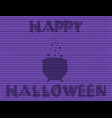 halloween card with knitted of witch cauldron vector image vector image