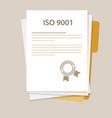 iso 9001 international standard organization on vector image