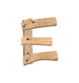 letter e wood board font plank and nails alphabet vector image