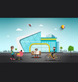 modern building in abstract city people on street vector image vector image
