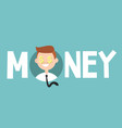 money sign concept young successful business man vector image