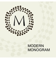 Monogram emblem logo with a wreath spiral vector image