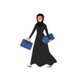 muslim business woman going to work with briefcase vector image