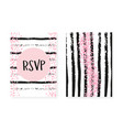 pink glitter cards with dots and sequins wedding vector image vector image