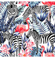 pink watercolor flamingo zebra and blue palm vector image vector image
