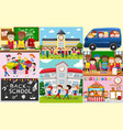 school scenes with students and classrooms vector image vector image