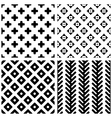 Set of 4 monochrome geometric seamless patterns vector image vector image