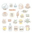 Set of hand drawn natural badges and labels vector image vector image