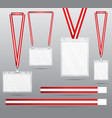 set of red lanyard and badge vector image vector image
