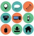 set of round colored icons vector image vector image