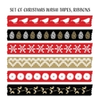set vintage christmas washi tapes ribbons vector image