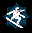 snowboarder jumping snowboard graphic vector image vector image