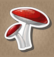 sticker with cartoon coloured mushroom isolated vector image vector image