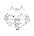 tangle pattern cat in glasses vector image vector image