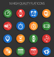 time 16 flat icons vector image
