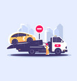tow truck city road assistance service evacuator vector image vector image