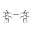 transmission lines thin line icon concept vector image vector image