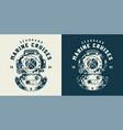 vintage diving label concept vector image