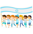 kids with big israeli flag vector image