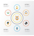 multimedia flat icons set collection of shellac vector image