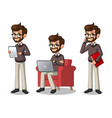 set of hipster businessman working on gadgets vector image