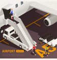 airstairs truck airport background vector image vector image