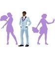 Attractive afroamerican man with corps de ballet vector image vector image