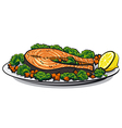baked salmon vector image vector image