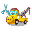 barber cartoon tow truck isolated on rope vector image