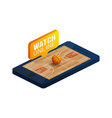 basketball online concept flat isometric online vector image vector image