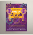 beautiful happy diwali flyer design with hanging vector image vector image