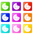 bite biscuits icons set 9 color collection vector image vector image