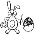 bunny with painbrush vector image vector image