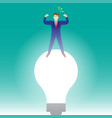 businessman standing on light bulb vector image
