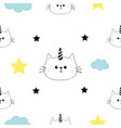 cat unicorn horn head hands cloud star shape cute vector image vector image