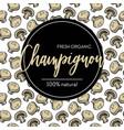 champignon mushroom seamless pattern food and vector image vector image