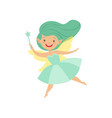cute beautiful little winged fairy lovely girl vector image vector image