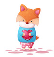 cute fox and heart illutration vector image vector image