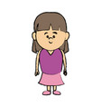 cute little girl smiling character kid vector image vector image
