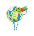 drunk cartoon earth planet character drinking wine vector image vector image