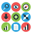 Flat Styled Circular Business Icons vector image vector image