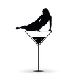 girl on martini black silhouette vector image vector image