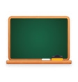 green blackboard with chalk and sponge vector image vector image